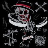 Skalle, skelett- hand, ben och band Royaltyfri Foto