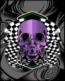 Skalle som är violett med teckningen för hand för loppflaggavektor royaltyfri illustrationer