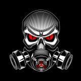 Skalle som bär en gasmask Fotografering för Bildbyråer