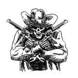 Skallecowboy i västra hatt och ett par av den korsade vapenrevolvret royaltyfri illustrationer