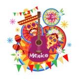 Skalledag av den traditionella mexicanska allhelgonaaftonen Dia De Los Muertos Holiday för dött begrepp vektor illustrationer