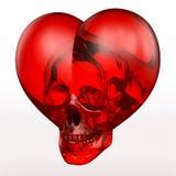 Skallehjärta som är röd Royaltyfri Bild