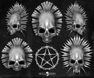 Skallehuvud och pentagram royaltyfri illustrationer