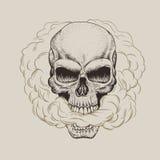 Skallen andas röken stock illustrationer