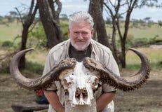 Skallen av en afrikansk vattenbuffel Arkivbilder