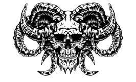 Skallen av en demon royaltyfri illustrationer