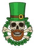 Skallen av St Patrick ` s med gröna hatt- och växt av släktet Trifoliumsidor Irländsk skalle StPatrick skallevektor Arkivbild