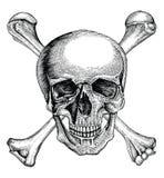 Skallen med korsade ben, piratkopierar symbolet, tappning för logohandteckning royaltyfri illustrationer