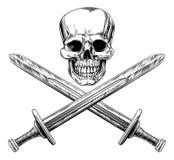 Skallen och svärd piratkopierar tecknet royaltyfri illustrationer
