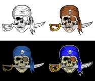 Skallen piratkopierar tuggan ett svärd Arkivfoto