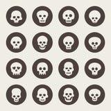 Skallesymbolsuppsättning royaltyfri illustrationer