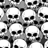 Skalletextur Skelett- head lott Bakgrund av skallar Prydnad vektor illustrationer