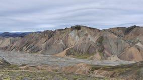 Поход Skalli - Landmannalaugar, короткий трек близко к горячие источники стоковая фотография