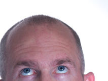 skallig blå synad seende man 2 upp royaltyfri bild