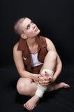 skallig flicka som 03 ser upp Royaltyfri Foto