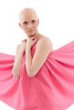 Skallig kvinna i rosa färger - bröstcancer Awereness royaltyfri fotografi