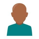 Skallig man för färgrik ansiktslös halv kroppbrunett för kontur Arkivfoton