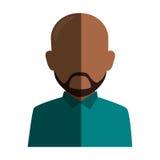 Skallig man för färgrik ansiktslös halv kroppbrunett för kontur med skägget Arkivbild