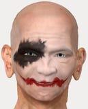 Skallig man med clownmakeup Arkivfoton