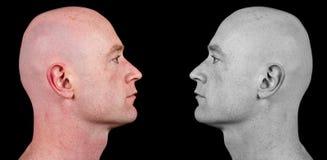 skallig rakad sida för man stående arkivbild