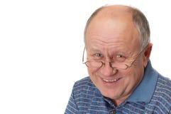 skallig skratta manpensionär Royaltyfria Bilder