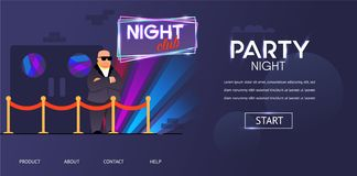 Skallig utkastare i solglasögon utanför nattklubbdörr vektor illustrationer