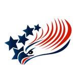 Skalliga Eagle American Flag Arkivfoto