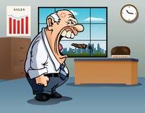 skalligt ilsket framstickande på kontor vektor illustrationer