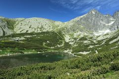 Skalnate lake in High Tatra Mountains Royalty Free Stock Images