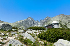 Skalnate pleso的, Lomnicky stit,高Tatras观测所在斯洛伐克 图库摄影