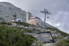 Skalnate pleso,高Tatra山/斯洛伐克- 2017年7月6日:从驻防Skalnate pleso的Tatranska Lomnica村庄的空中览绳 免版税库存图片