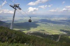 Skalnate pleso,高Tatra山/斯洛伐克- 2017年7月6日:从驻防Skalnate pleso的Tatranska Lomnica村庄的空中览绳 库存照片