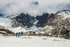 Skalnate pleso,高Tatras山的在冬天,斯洛伐克湖 库存照片