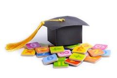 Skalowanie przerwy kapelusz na matematyki liczbie kolorowej: Edukacji nauki matematyki uczenie obrazy royalty free
