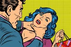 Skandal i przemoc domowa, kobieta przychodziliśmy z zakupami od Obrazy Royalty Free