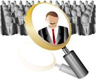 Sökandeanställdsymbol för rekryteringbyråförstoringsapparat med affär Arkivfoto