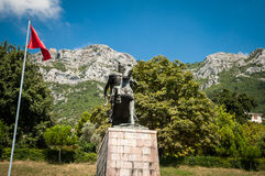 Skanderbeg monument in Kruje stock photos