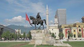 Skanderbeg monument stock video footage