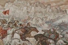 Skanderbeg Mural. Kruja, Albania - September 27, 2016: Detail of a mural commemorating a battle fought by Skanderbeg, a hero of the Albanian people stock photography