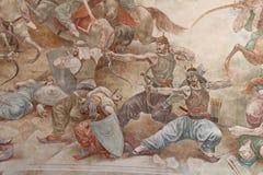 Skanderbeg Mural. Kruja, Albania - September 27, 2016: Detail of a mural commemorating a battle fought by Skanderbeg, a hero of the Albanian people royalty free stock photos