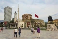 Skanderbeg square. Tirana, Albania - 16 July 2017 : People walking on the Skanderbeg Square royalty free stock photos