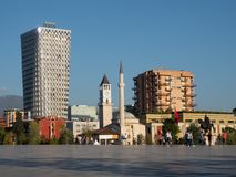 Skanderbeg Square with the Ethem Bey Mosque and Plaza Tirana in Albania