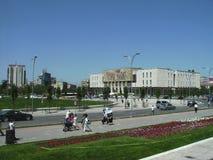 Skanderberg广场,地拉纳,阿尔巴尼亚看法  库存图片
