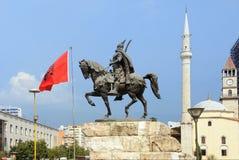 Skanderberg-Statue in Tirana, Albanien Stockfotografie