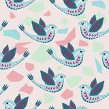 Skandinav Birdie Pattern Design stock illustrationer