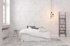 Skandinav inre tomt vitt sovrum för vind stock illustrationer