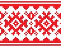 Skandinav sömlös modell för nordiskt bälte, Lapland lång röd folkkonstdesign, traditionell bakgrund för Sami folk stock illustrationer