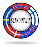 Skandinavflaggor i en cirkel Arkivfoto