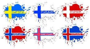 Skandinavflaggor som fläckar Arkivfoton