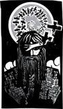 Skandinavier-Gott Odin mit gewundenen Krähen Stockfotografie